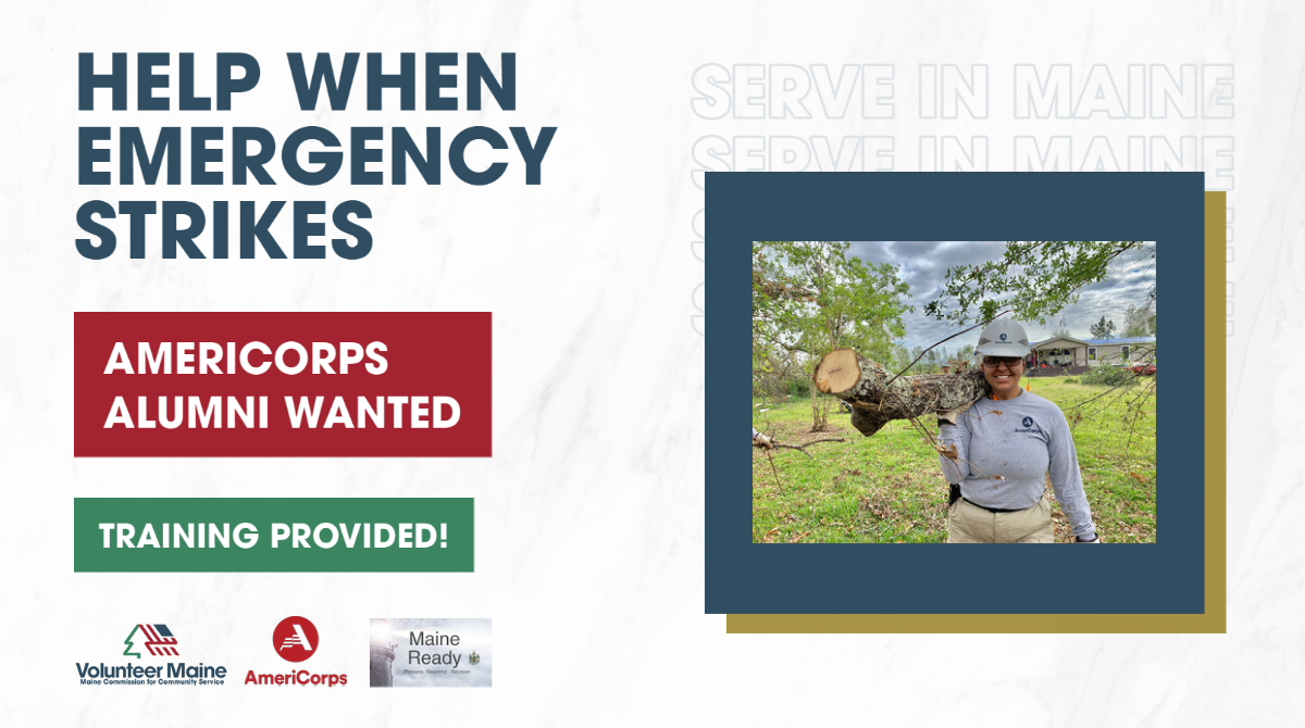 Decorative graphic featuring a photo of an individual holding a tree branch during disaster cleanup