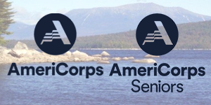 Photo of AmeriCorps and AmeriCorps Senior logos set on top of a photo of a lake and mountains