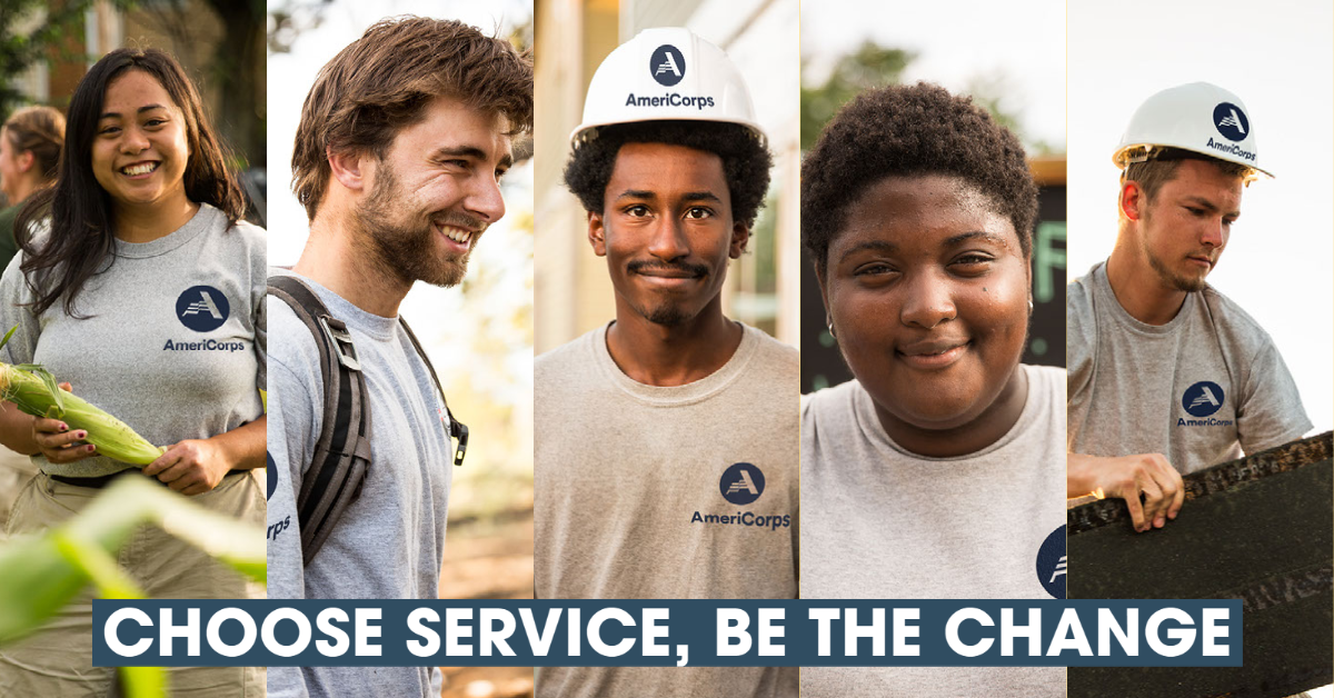 Collage of portraits of five AmeriCorps members
